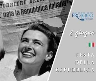 """Potrebbe essere un'immagine raffigurante 1 persona e il seguente testo """"nata la CORRIERE Repubblica italia UNIONE NAZIONALE PROLOCO D'ITALIA MONARCH 2 giugno FESTA DELLA REPUBBLICA"""""""